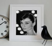 Audrey Hepburn Portrait Icon - Decorative Arts, Prints & Posters,Wall Art Print, Poster Any Size - Black and White Poster
